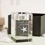 Personalised Glass Twinkle Twinkle Tealight Holder