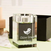 Personalised Glass Bird Tealight Holder