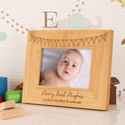 Personalised Solid Oak Bunting Landscape 6x4 Baby Frame