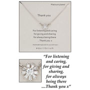 Platinum Plated Thank You Crystal Flower Sentiment Necklace