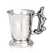 Pewter Baby Cup With Climbing Teddy Bears Handle