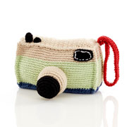 Fair Trade Retro Crochet Camera Baby Rattle by Pebble