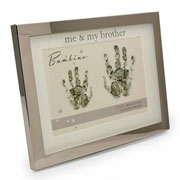 Me and My Brother Hand Print Silver Plated Frame