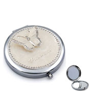 Silver Plated Bridesmaid Butterfly Compact Mirror