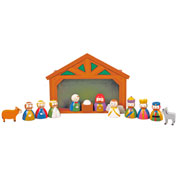 Childrens Small Wooden Nativity Set and Stable