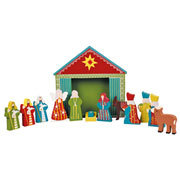 Childrens Medium Wooden Nativity Set and Stable