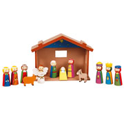 Childrens Large Wooden Nativity Set and Stable