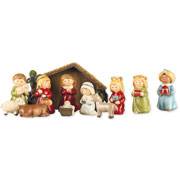 Resin 11 Figure Nativity Set with Stable