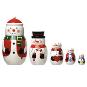 Wooden Nesting Dolls Snowman Set