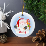 Personalised Santa Claus Round Ceramic Tree Decoration