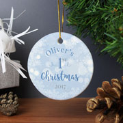 Personalised Blue My 1st Christmas Round Ceramic Decoration