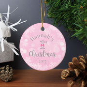 Personalised Pink My 1st Christmas Round Ceramic Decoration