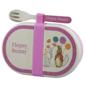 Flopsy Bunny Organic Bamboo Snack Box with Cutlery Set