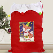 Personalised Festive Fox Multicoloured Pompom Santa Sack