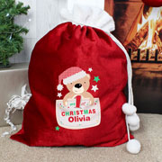 Personalised Pocket Teddy My 1st Christmas Santa Sack