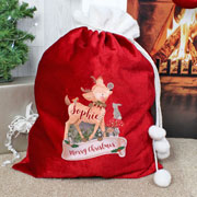 Personalised Festive Fawn Luxury Pompom Christmas Sack