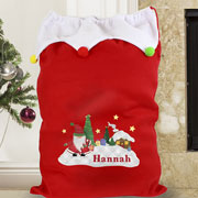 Personalised Tartan Santa Luxury Pompom Christmas Sack
