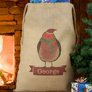Personalised Robin Hessian Christmas Sack