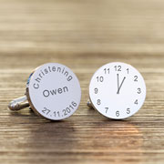 Personalised Christening Silver Plated Clock Cufflinks