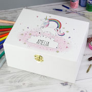 Girl's Personalised Unicorn White Wooden Keepsake Box