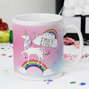 Girl's Personalised Pink Unicorn China Mug Children's Gift