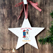 Personalised Paddington Christmas Wooden Star Decoration
