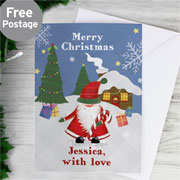 Personalised Tartan Santa Christmas Card