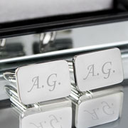 Engraved Silver Plated Boy's Rectangular Cuff Links