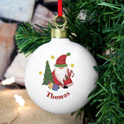 Personalised Ceramic Tartan Santa Christmas Bauble