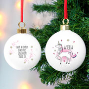 Personalised Ceramic Unicorn Christmas Tree Bauble