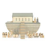 Natural Large Wooden Noahs Ark Set by East Of India