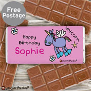 Personalised Bang on the Door Unicorn Milk Chocolate Bar