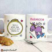 Personalised Bang on the Door Unicorn Ceramic Mug