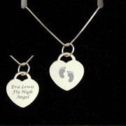 Engraved Silver Heart Baby Memorial Pendant on Silver Chain