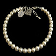 Personalised Pearl Baby Loss Bracelet With Footprint Charm
