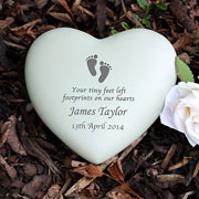 Personalised Baby Footprints Resin Heart Baby Loss Memorial