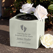 Personalised Footprints Baby Loss Memorial Graveside Vase