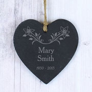 Personalised Floral Slate Remembrance Heart