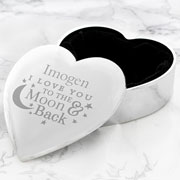 Personalised To The Moon & Back Heart Trinket Box