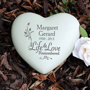 Personalised Life and Love Heart Memorial