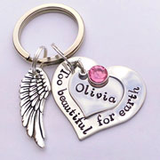 Hand Stamped Too Beautiful for Earth Baby Loss Keyring