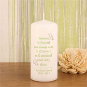 Personalised Still Missed Memorial Pillar Candle