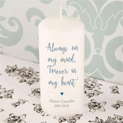 Personalised Always on my Mind Memorial Pillar Candle