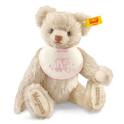 Girl's Cream Personalised Steiff Birth Bear with Pink Bib