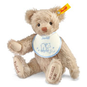 Boy's Steiff Beige Personalised Birth Bear with Blue Bib