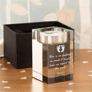 Personalised Baby Footprint Memorial Tealight Holder