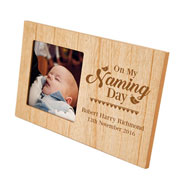 Personalised Wooden Naming Day Photo Frame