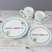 Personalised Animal Alphabet Boy's Blue Breakfast Dinner Set