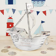 Engraved Silver Plated Pirate Ship Personalised Money Box