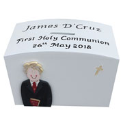 Personalised First Holy Communion Wooden Money Box for a Boy